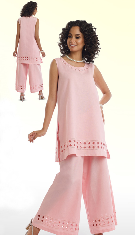 Lisa Rene 3317-PW ( 2pc Ladies Tunic And Pant Set With Cutout Embroidery )