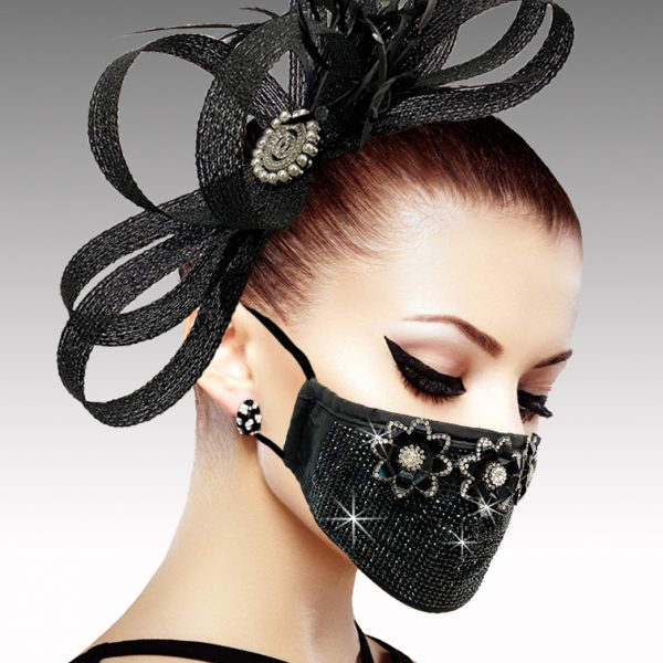 FM-19-Lewis ( 1pc Superior Quality Designer Face Mask With Beautiful Jet Crystals And Asterisk Design, With Adjustable Ear Loops )