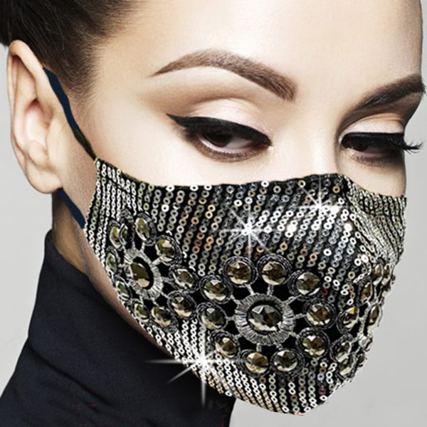 FM-13-Galahad ( 1pc Superior Quality Designer Face Mask With Beautiful Medallion Design, With Adjustable Ear Loops )