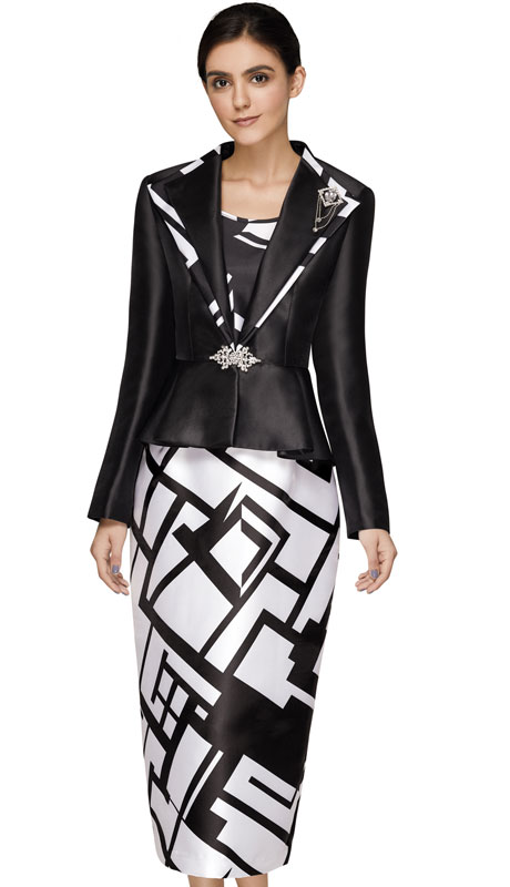 Nina Massini 3013-BW_CO ( 3pc Silk Ladies Church Suit )
