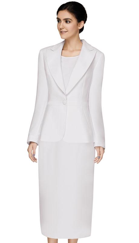 Nina Massini 3307-WH ( 3pc PeachSkin Ladies Church Suit )