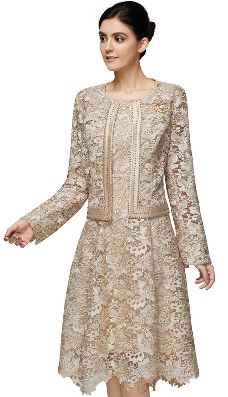 Nina Nischelle 2912-CH ( 2pc Silk With Lace Womans Dress )