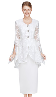 Nina Massini 2385  ( 3pc PeachSkin With Organza Women Sunday Suit )