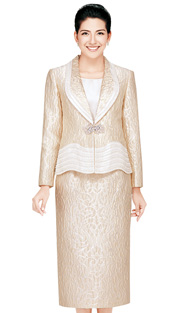 Nina Massini 2342  ( 3pc Taffeta Women Church Suits With Rhinestones Details )