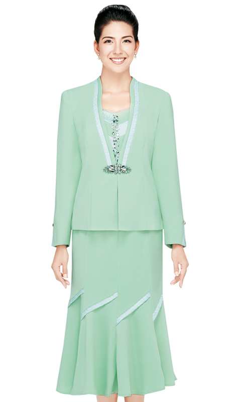 Nina Massini 2320  ( 3pc Renova Ladies Church Suit With Fluted Skirt )