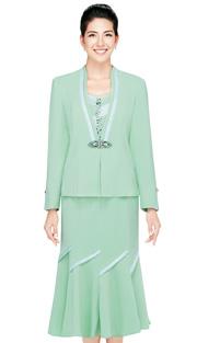 Nina Massini 2320  ( 3pc Renova Ladies Church Suit With Fluted Skirt )