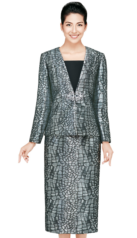 Nina Massini  2425  ( 3pc Brocade Women Sunday Suit With Rhinestones Buckle )