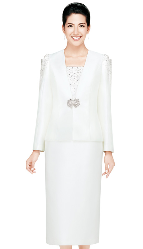 Nina Massini 2433 ( 3pc Silk Look  Women Church Suit With Rhinestones Details )