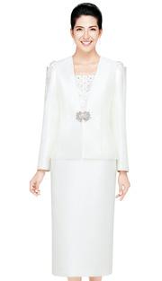 Nina Massini 2433 ( 3pc Silk Look  Women Church Suit With Rhinestones Details )