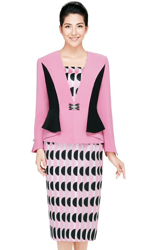 Nina Massini 2435 ( 3pc Novelty Ladies Church Suit With Rhinestones Buckle )