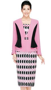 Nina Massini 2435 ( 3pc Novelty Ladies Church Suit With Rhinestones Buckle )