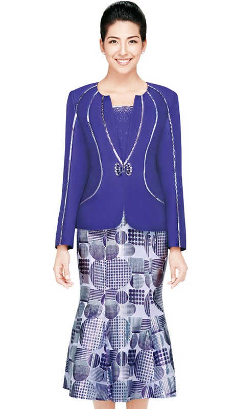 Nina Massini 2436 ( 3pc  Silk Look  Women Church Suit With Fish Tail And Rhinestones Buttons )
