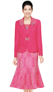 Nina Massini 2440 ( 3pc Novelty With Silk Look Ladies Church Suit With Fish Tail Skirt )