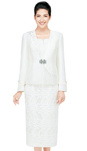 Nina Massini 2441  ( 3pc Novelty With Silk Look Women Church Suit With Class Buckle )