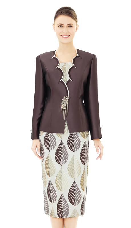 Nina Massini 2545-BR ( 2pc Novelty And Silk Women's Sunday Suit  )