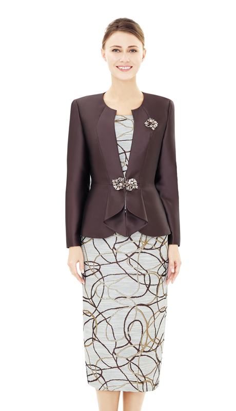 Nina Massini 2544-BR ( 2pc Novelty And Silk Women's Sunday Suit  )
