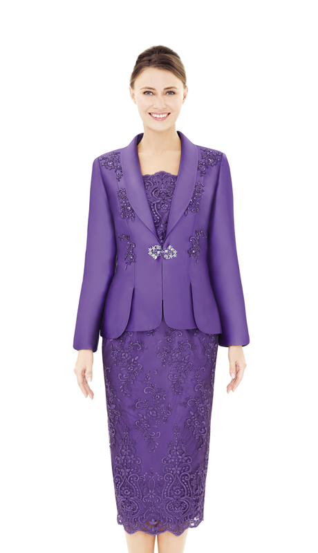 Nina Massini 2537-PU ( 2pc Lace And Silk Women's Sunday Suit )