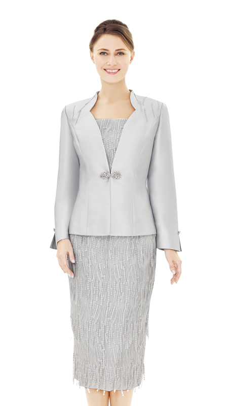Nina Massini 2535-SI ( 2pc Novelty And Silk Sunday  Church Suit )