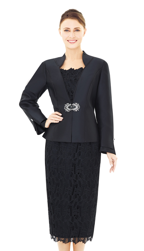 Nina Massini 2529-BK ( 2pc Lace And Silk Women's Suit For Church )