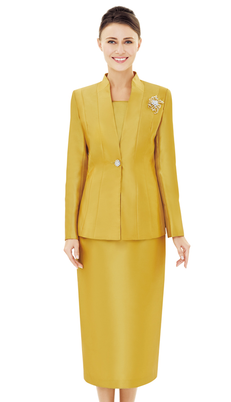 Nina Massini 2525-GO ( 2pc Silk Ladies Church Suit )