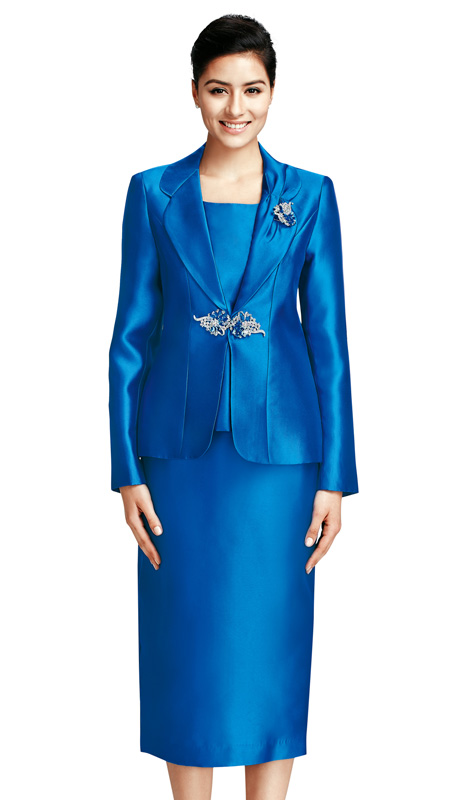 Nina Massini 2368  ( 3pc Silk Look Ladies Church Suit With Class Brooch )