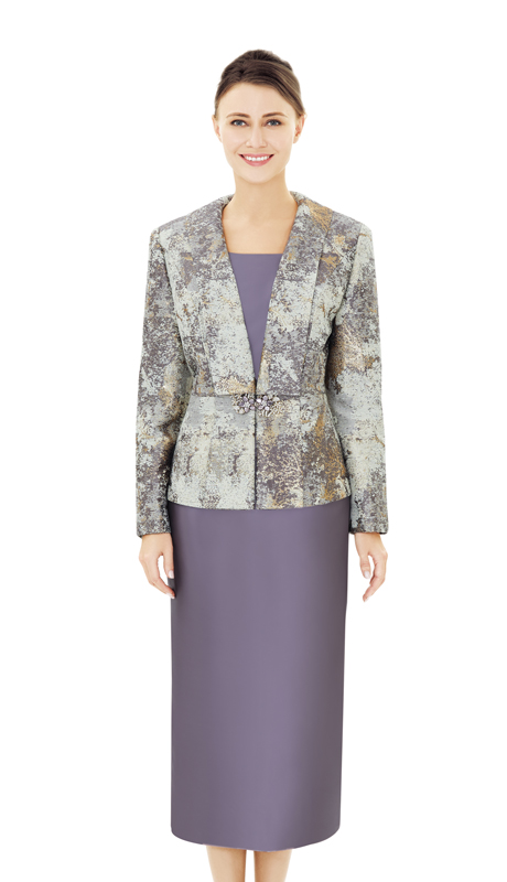 Nina Massini 2513-MU ( 2pc Novelty And Silk Ladies Church Suit )