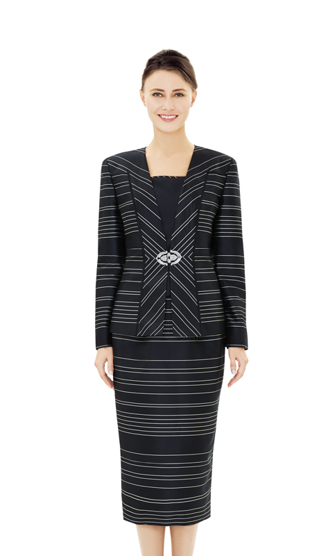 Nina Massini 2507-BK ( 2pc Stripe Sunday Suit )