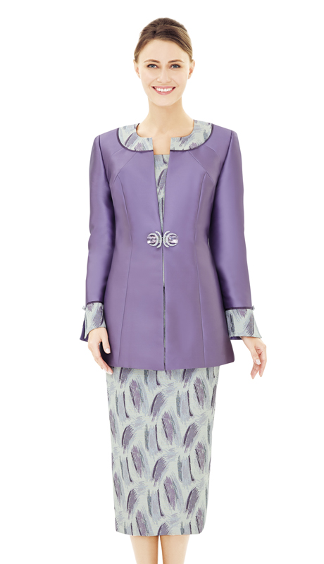 Nina Massini 2502-VI ( 2pc Novelty And Silk Ladies Church Suit )