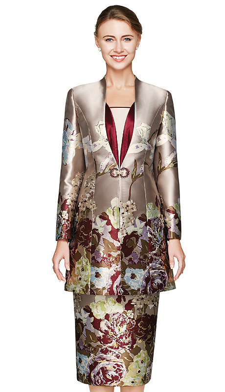 NM2455-TAU ( 3pc Novelty Ladies Church Suit With Floral Print And Rhinestone Buckle )