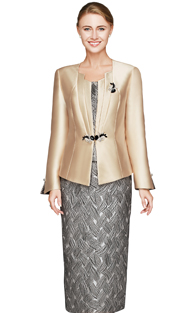 NM2445-CHA ( 3pc Silk Look Ladies Church Suit With Rhinestone Brooch Jacket, Basket Weav Pattern On Cami And Skirt )