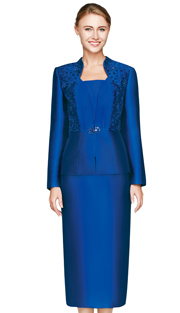 NM2448-ROY  ( 3pc Silk Look Womens Suit For Church With Cut Out Rose Pattern On Jacket And Sapphire Glass Brooch, Cami And Skirt )