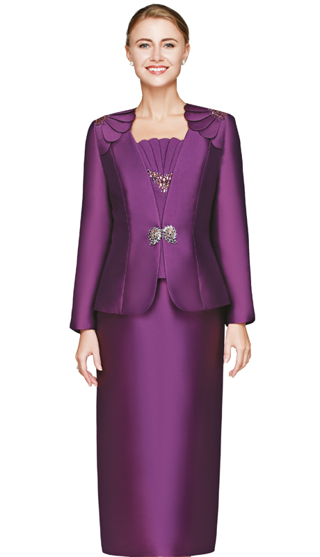 NM2454-PLU  ( 3pc Silk Ladies Church Suit With Rhinestone Buckle, Petal Shoulder Detail On Jacket And Cami With Skirt )