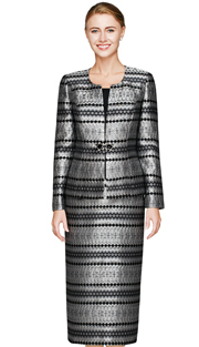 NM2459-BLK ( 3pc Novelty Church Suit  With Jacket, Skirt And Cami, Diamond And Zig-zag Pattern And Glass Buckle )