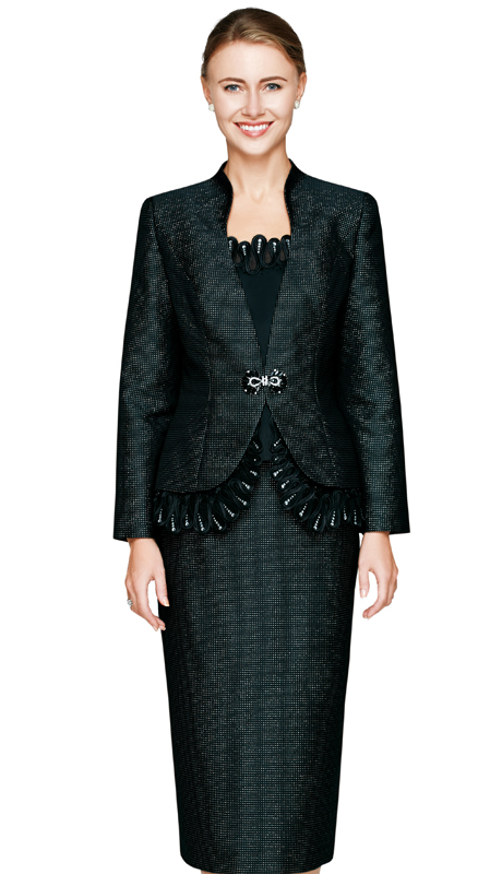 NM2462-BLK  ( 3pc Novelty Church Suit For Ladies With Jacket, Cami And Skirt, Swirl And Rhinestone Trim Detail, Glass Buckle )