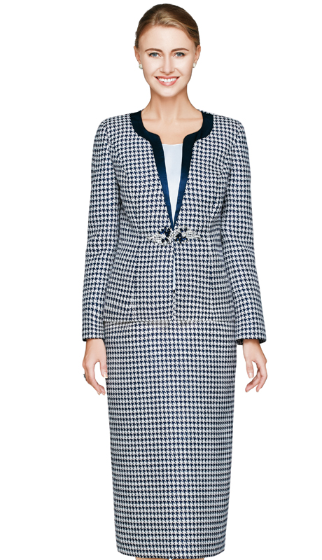 NM2463-NW ( 3pc Novelty Church Suit For Women With Houndstooth Print, Glass And Rhinestone Buckle Jacket, Skirt And Solid Cami )