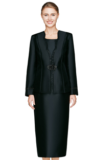 NM2467-BLK  ( 3pc Novelty Women Church Suit With Glass Buckle And Rhinestone Trim On Jacket With Cami And Skirt )