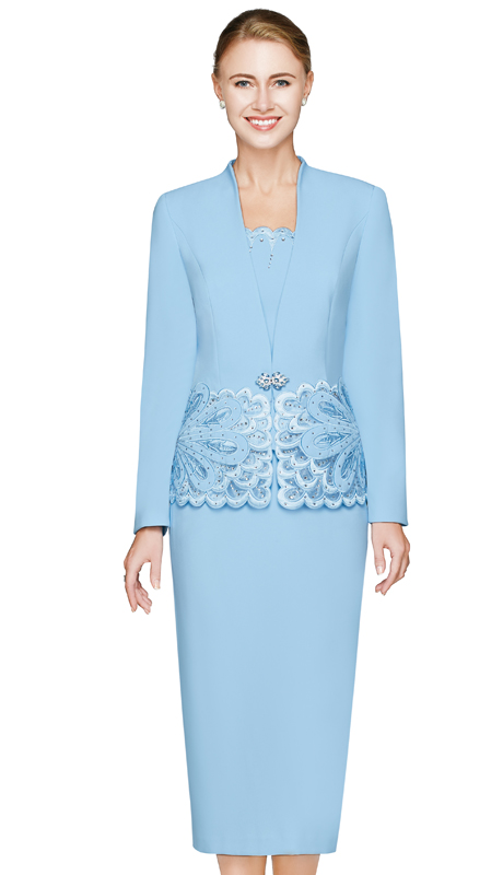 NM2460-SKY ( 3pc Renova Womens Suit With Floral Pattern In Solid And Sheer Detail With Scallop Edge,  Jacket, Cami And Skirt )