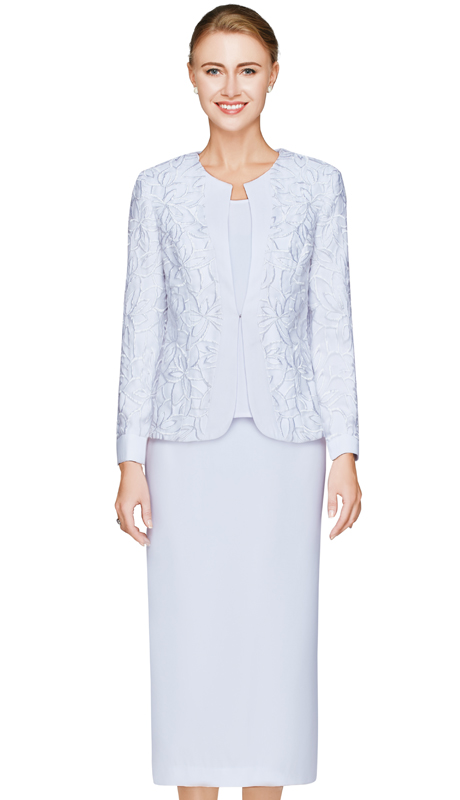 NM2466-WHT ( 3pc Renova Womens Church Suit With Floral Pattern Jacket, Cami And Skirt )