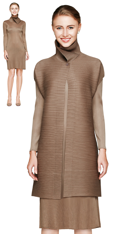 NM2806-TAU ( 2pc Novelty Pleat Dress By Nina Massini With High Collar And Long Jacket With Single Button )