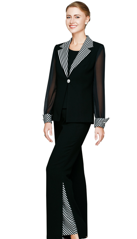 NM2456-BLK ( 3pc Renova Ladies Pant Suit With Striped Collar, Cuff Of Jacket, Peekaboo Slit Pants And Solid Cami )