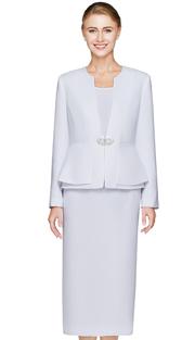 NM2461-WHT ( 3pc Renova Womens Suit  With Layered Peplum Jacket And Rhinestone Clasp )