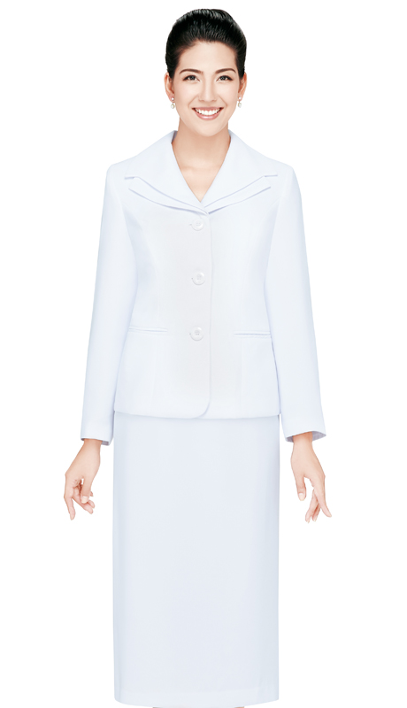 NM2428-WHT ( 2pc Renova Ladies Suit With Three Button Front And Layered Collar )