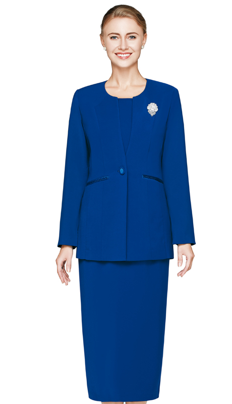 NM3021-ROY-CO ( 3pc Renova, Single Button, Church Suit For Women With Rhinestone Brooch )