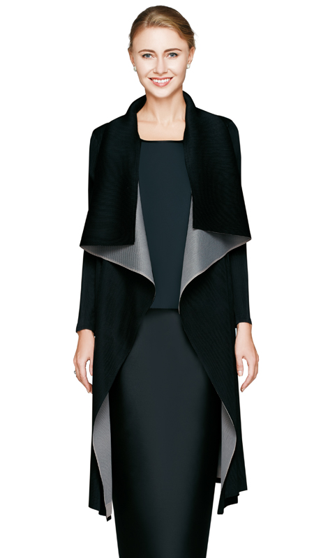 NM2807-BLK ( 1pc Reversible Pleat Drape Jacket By Nina Massini )