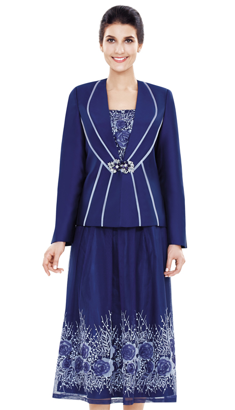 Nina Massini 2483 ( 3pc Lace And Silk Women's Sunday Suit )