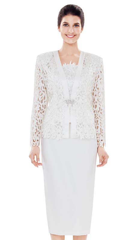 Nina Massini 2484 ( 3pc Lace And Silk Suit For Church )