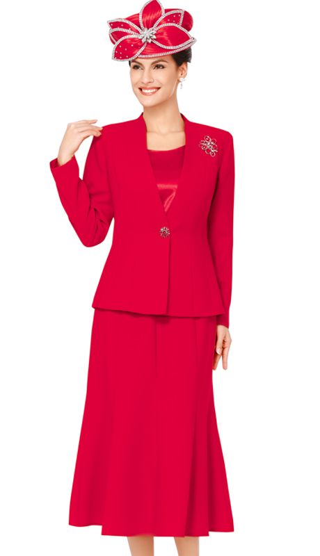 NM1218-N-CO ( 3pc Renova Ladies Suit For Church With Slimming Paneled Jacket And Skirt, Rhinetsone Button And Brooch )