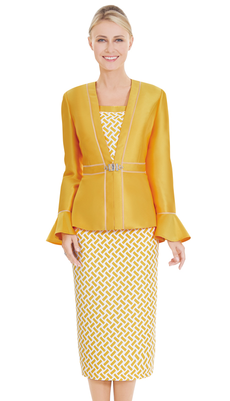 Nina Massini 2585 ( 3pc Novelty And Silk Suit For Sunday With Geometric Pattern )