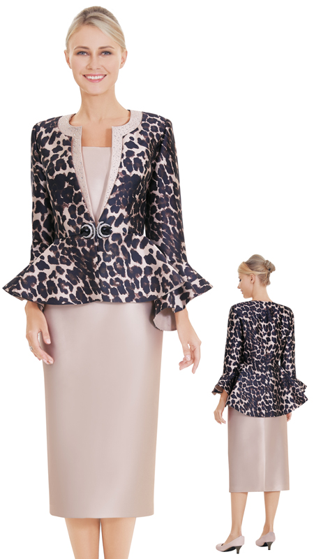 Nina Massini 2560 ( 3pc Silk Sunday Suit And Animal Print Jacket )