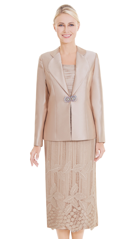 Nina Massini 2552 ( 3pc Lace And Silk Suit For Sunday With Floral Pattern Skirt And Elegant Clasp )